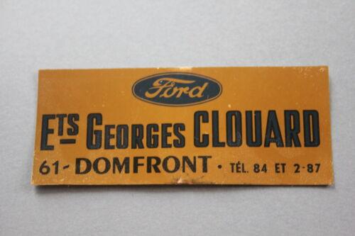 MC Ancien autocollant Garage Ets Georges Clouard 61 Domfront FORD voiture