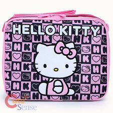 Sanrio Hello Kitty School Insulated Lunch Bag Snack Box - Black Pink Stamps