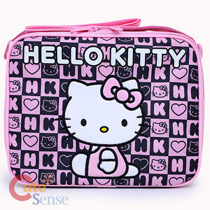 Sanrio-Hello-Kitty-School-Insulated-Lunch-Bag-Snack-Box-Black-Pink-Stamps