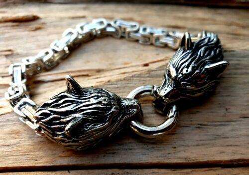 Armband Wolf Geri Freki Wölfe Fenris Odin Wikinger Edelstahl Mjölnir K30.22