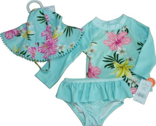 Girls Rash Guard Swimsuit Long Sleeve Rashguard Bathing Suit Sun Hat 3pc Carters