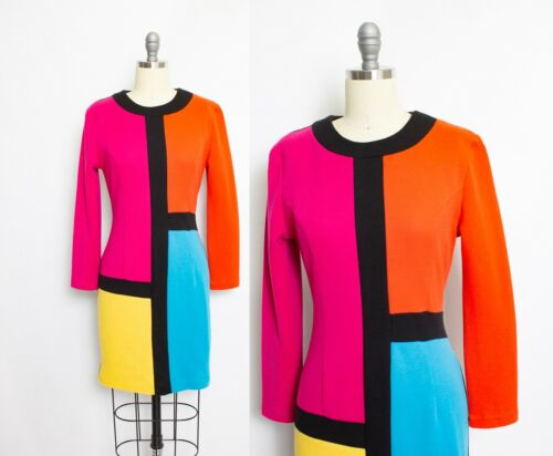 Vintage 1980s Knit Dress Color Block Neon Fitted S