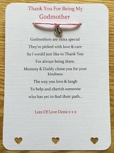 Gift Godmother// Godfather//Godparent Card certificate thank you Christening