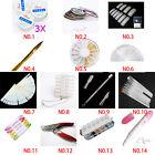 Acrylic Powder Nail Art Care Kit UV Gel Glitter Brush Clipper Tips Set