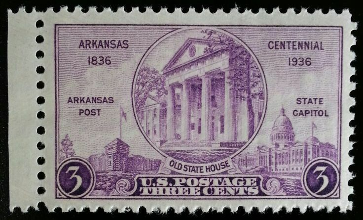 1936 3c Arkansas Statehood Centennial Scott 782 Mint F/