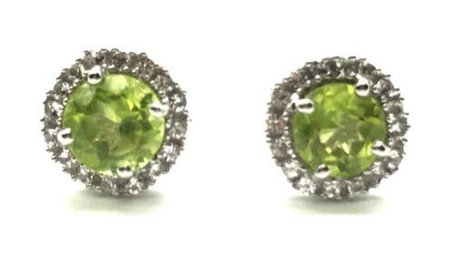 Sterling Silver 925 Round Green Peridot CZ Halo Fancy Petite Stud Post Earrings