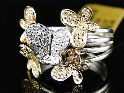 New White Gold Finish Ladies Women White Diamond Butterfly Fashion Designer Ring