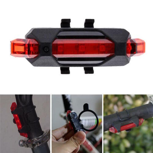 RECHARGEABLE Micro USB LED Handlebar FRAME Waterproof Flash Bike Head Tail Light
