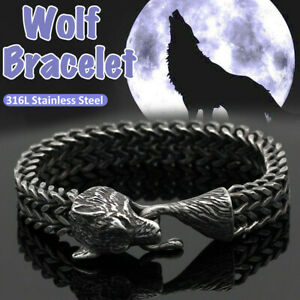 Homme-Nordique-Vikings-Acier-Inoxydable-Lien-Chaine-Loup-Bracelet-Amulet