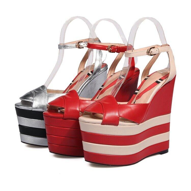 Fashion Womens Womens Womens Platform Wedge Heel Ankle Strap Peep Toe Punk Leather shoes Size a3e515