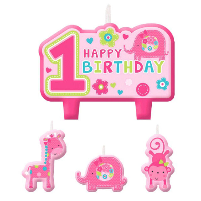 4 Piece Wild Fun To Be One Pink Girls 1st Birthday Party Cake Decoration Candles