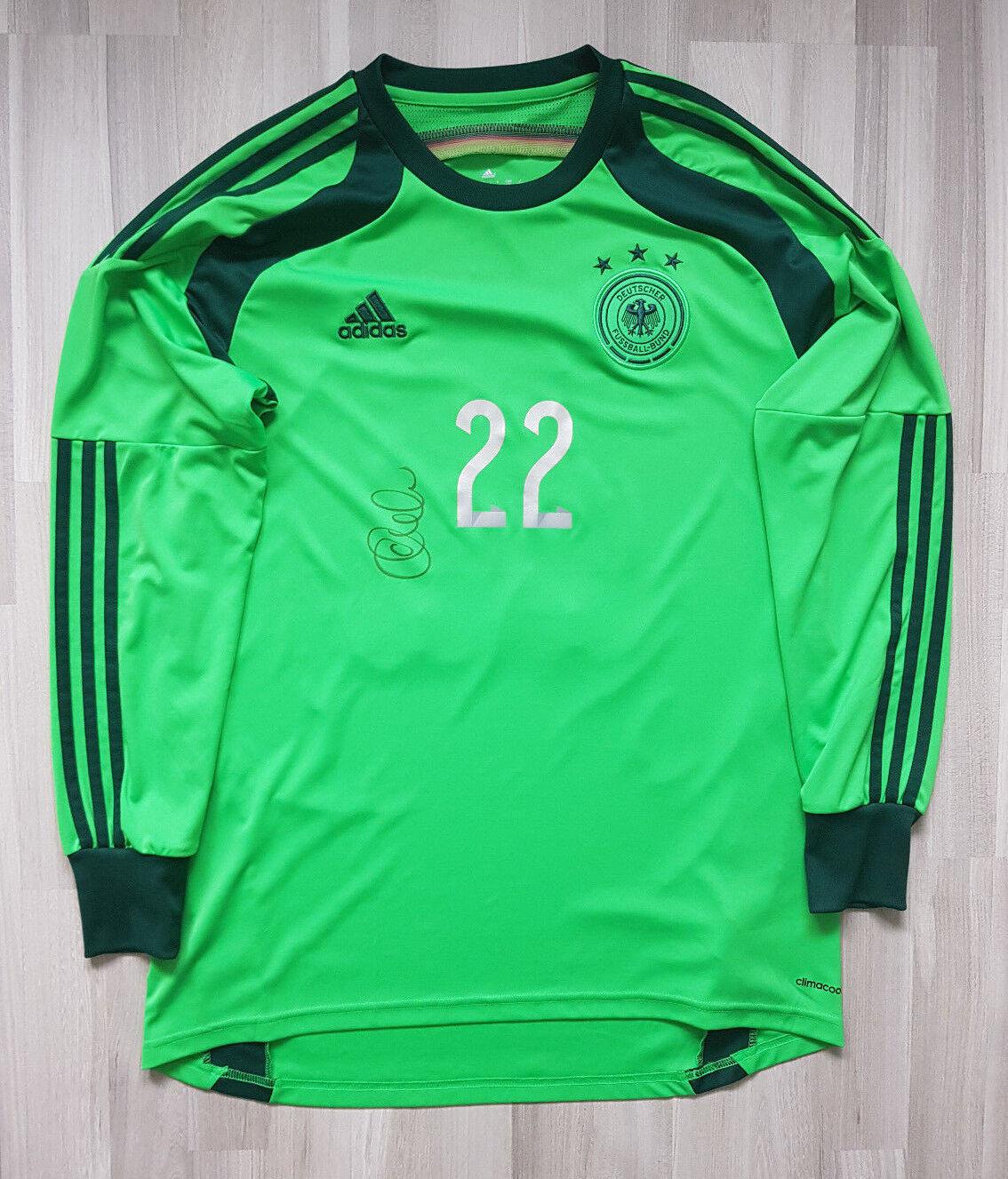 Adidas DFB Deutschland Torwart Trikot WM 2014 Zieler Gr. L signiert Nr. 22