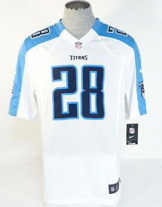 79e866281 Nike NFL Tennessee Titans Johnson 28 White   Blue Football Game ...