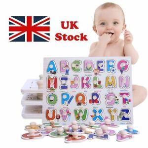 Wooden Puzzle Baby Kids Toddler Puzzle Alphabet Lettres Animaux À faire soi-même learning Toys