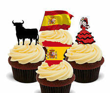 Spain Fun Pack, Edible Fairy Cup Cake Toppers, Spanish Flag Eurovision