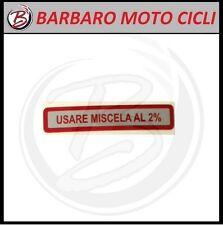 ADESIVO LABEL TARGHETTA ROSSO USARE MISCELA 2% VESPA 50 125 PK S XL V FL FL2 HP