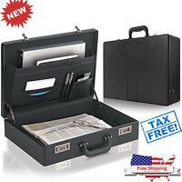 Leather Briefcase Mens Bag Attache Black Hard Case Messenger Business Portfolio