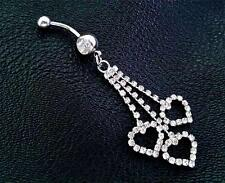 Navel Belly Button Ring Bar Shiny Clrystal Hollow Heart Dangle Barbell Piercing