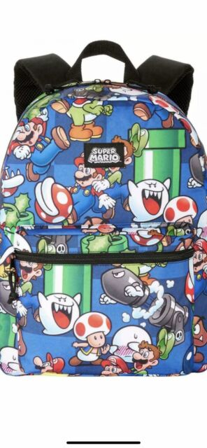 """Blue NEW Boys Super Mario Brother 16/"""" Rolling Backpack with Lunch"""