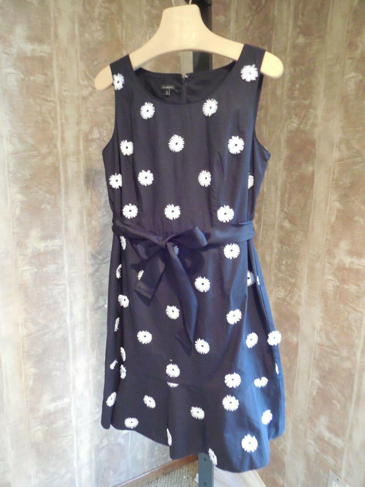 Misses 3-D Noir Brodé Floral Robe à pois avec ceinture TALBOTS 14 129