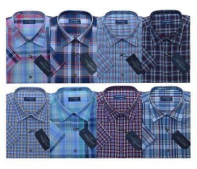 6XL Mens Short Sleeve Summer Yarn Dyed PolyCotton Check Shirt M