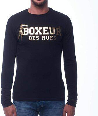 Schwarz BOXEUR DES RUES Herren BXE-20007H Langarm-t-Shirt XS