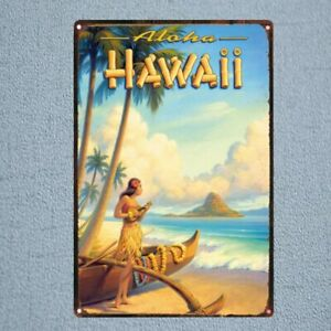 HAWAii-landscape-Metal-Tin-Sign-Vintage-Plaque-Painting-Travel-Restaurant-Wall