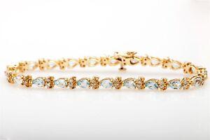Image Is Loading Estate 7000 15ct Natural Aquamarine Diamond 14k Yellow