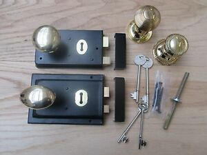 Noir-rim-lock-laiton-rim-knob-set-old-vintage-style-retro-porte-jante-poignees