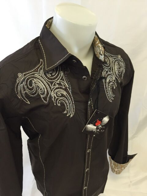 Mens HOUSE of LORDS Button Down Shirt CROSS TRIBAL WINGS Brown Roar W Class 1162