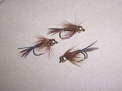 3 Goldhead Vibrating BLACK daddy long legs YELLOW/&BLACK legs size 14 Salmoflies