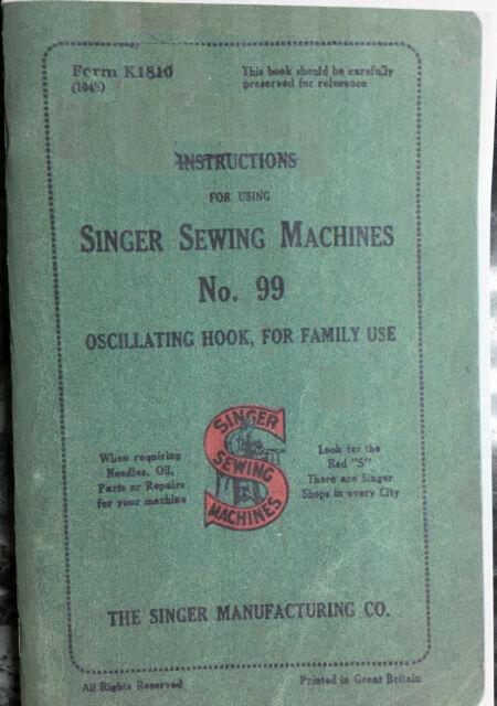 Singer Model 99 Sewing Machine Instruction Manual Ebay