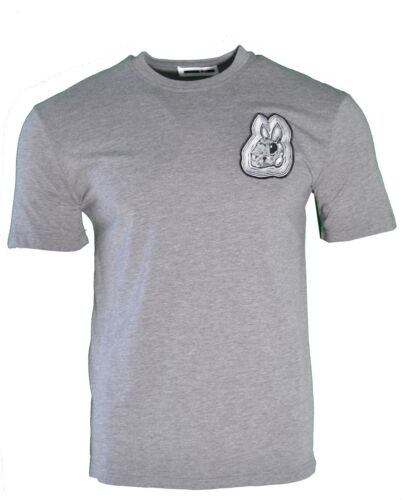 NEW MCQ BUNNY RABBIT CHEST LOGO T-SHIRT GREY ALEXANDER MCQUEEN URBAN GOTHIC