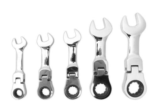 Articulation Bague gueule cliquet-Clés Set 5 pièces 10-19 mm Stubby brièvement