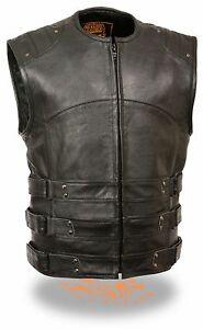 Milwaukee Leather Men/'s Updated Swat Style Biker Vest 1 Panel Back /& Gun Pockets