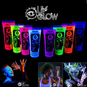 Neon glow in the dark face and body paint party 8pcs uv for Neon paint party 2017