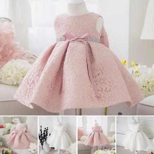 Blumen Mädchen Schleife Kleid Prinzessin Baby Hochzeit Festzug Spitze Kleider