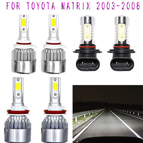 2019 6pcs Super bright White 6000K COB LED Headlight Hi//Lo+Fog light For Toyota