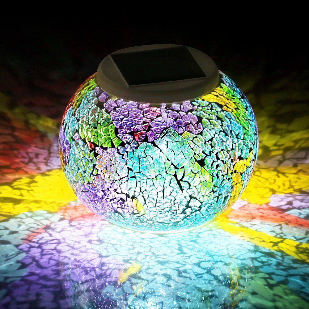 Multicolor Solar Powered Mosaic Glass Ball Led Garden Lights
