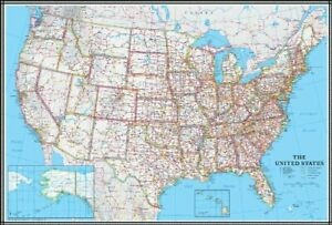 united states road map poster Large United States US Wall Map Road Travel Hanging Poster Mural