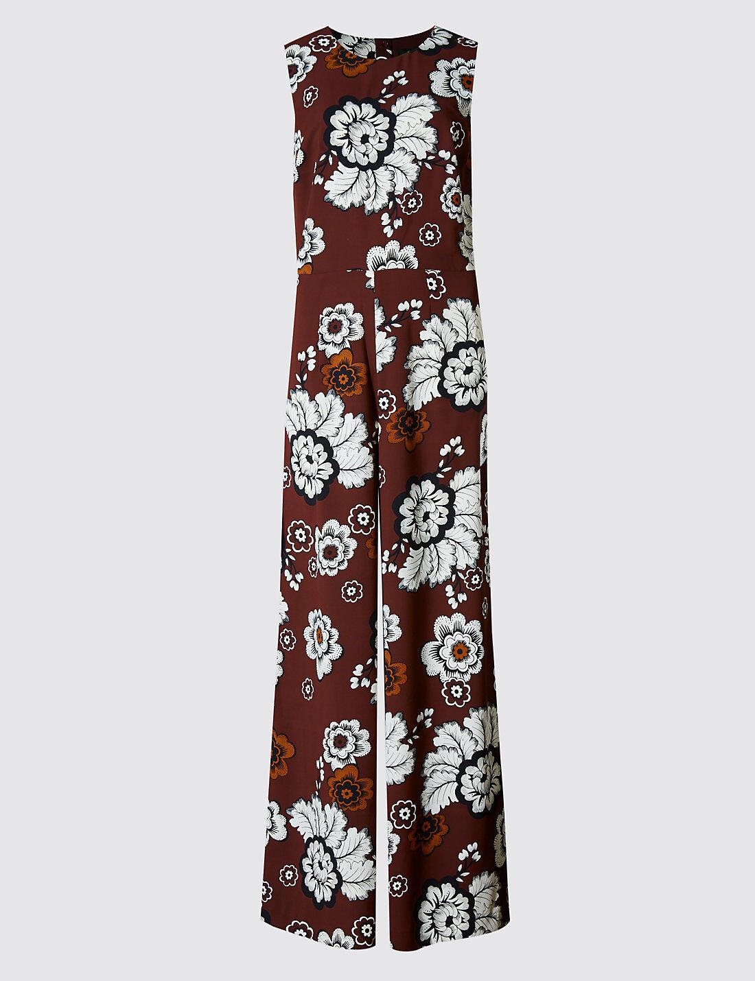 New M&S Autograph Burgundy & White Floral Jumpsuit Sz