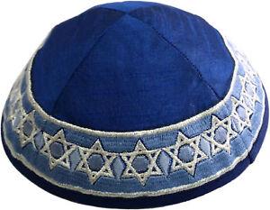 Yair-Emanuel-Blue-Kippah-Embroidered-White-Stars-of-David-Yarmulke