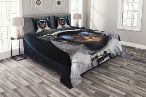 Planet Earth Backdrop Print Details about  /Space Cat Quilted Bedspread /& Pillow Shams Set