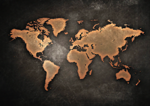 World map black and bronze effect poster ebay image is loading world map black and bronze effect poster gumiabroncs Gallery