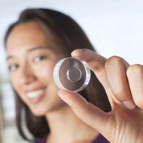6 x Design-Magnete Acryl Neodym hält 2,5 kg transparent Ø 25 mm