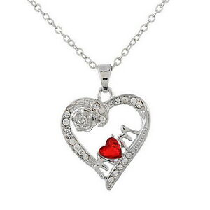 34-Rhinestone-Love-Heart-Rose-Mom-Pendant-Necklace-Mother-039-s-Day-Gift-Jewelry