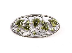 9901577-925er-Silver-Enamelled-Art-Nouveau-Brooch-Floral-Design