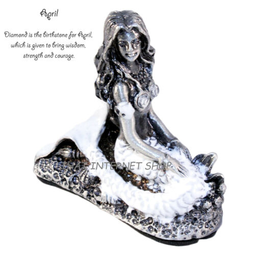 Pewter Mermaid Birthstone Collectible Magical Gemstone Home Ornament Gift Boxed