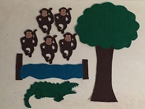 Details About 5 Little Monkeys Swinging In A Tree Jumping On The Bed Felt Story Flannel Board