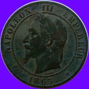 XIXeme-Siecle-Napoleon-Splendide-10-CENTIMES-1865-BB-STRASBOURG-patine-origine